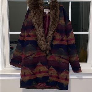 Urban Outfitters Fur Collar Muti- Color Jacket